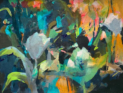 """Abstract Botanical Painting """"EARLY ARRIVALS"""" by Intuitive Artist Joan Fullerton"""