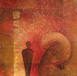 """Original Contemporary Abstract Mystical Painting With Figure """"Essence"""" by Arizona Contemporary Artist Pat Stacy"""