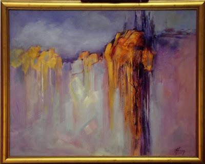 """Abstract Landscape, Contemporary Art """"Hidden Canyon"""" by Colorado Contemporary Fine Artist Jody Ahrens"""